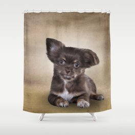 Drawing Puppy Chihuahua Shower Curtain