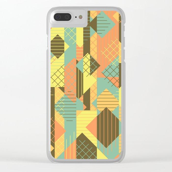 Squares Grids Stripes I (Modern Retro Color Palette) Clear iPhone Case