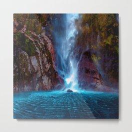 Crashing Waterfall Ripple - Milford Sound, New Zealand Metal Print