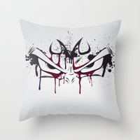 vegeta Throw Pillows featuring Majin Vegeta by freefallflow