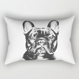Black And White French Bulldog Sketch Rectangular Pillow