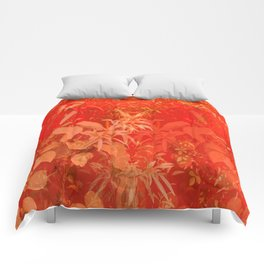 Beautiful red foliages - illustration of garden Comforters