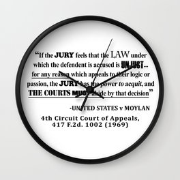 Jury Nullificaton Case Law Quote Wall Clock