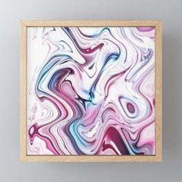 Liquid Marble - Pink and Blue Framed Mini Art Print