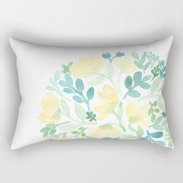 Yellow and Blue Floral Circle Rectangular Pillow