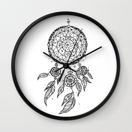 Dreams Catcher. Decorative Tribal pattern. Ethnic illustration Wall Clock