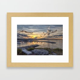 Sunset over Rockport Harbor 6-9-18 Framed Art Print