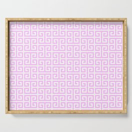 Pink and White Greek Key Pattern Serving Tray