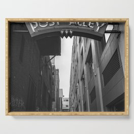 Post Alley in Seattle Washington - Black and White Serving Tray