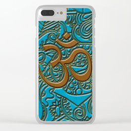 Brown on Teal Leather Embossed OM symbol Clear iPhone Case