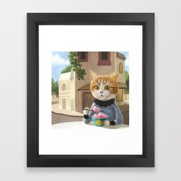 Yummy ice cream and a Cat Framed Art Print
