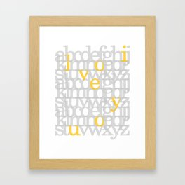 The ABC of i love you. In Yellow Framed Art Print