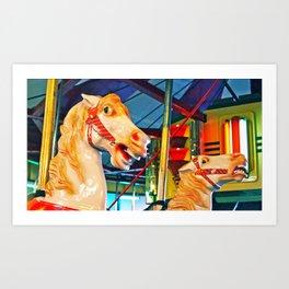 Carousal racers Art Print