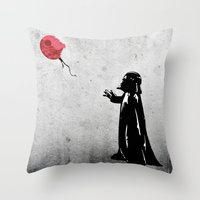 banksy Throw Pillows featuring Little Vader - Inspired by Banksy by kamonkey