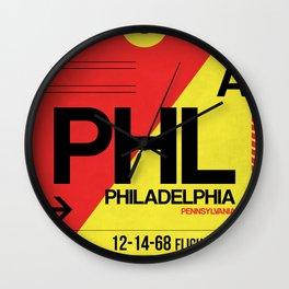 PHL Philadelphia Luggage Tag 2 Wall Clock