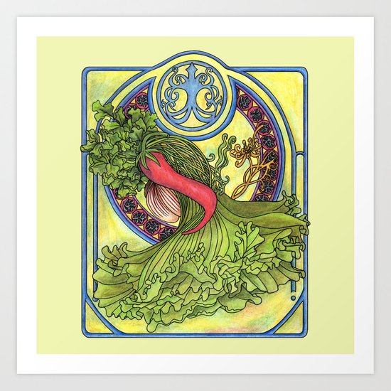 Art nouveau. Spices and vegetables Art Print