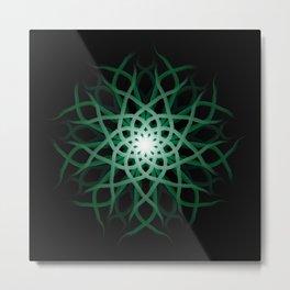 Mandala 2 - Green Flower Metal Print