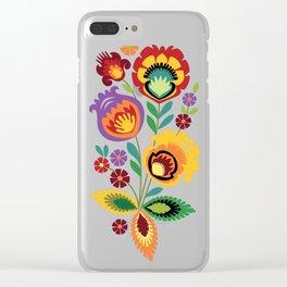 Polish Folk Flowers Red Clear iPhone Case