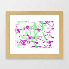 Create a Mess! Paint Splatters Pink and Green Framed Art Print