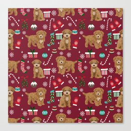 Bichpoo christmas dog breed holidays pet gifts pet friendly stockings candy canes snowflakes Canvas Print