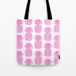 Retro Mid Century Modern Pineapple Pattern Pink Tote Bag
