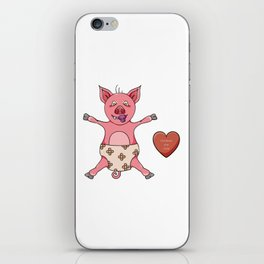 small pink piglet with diaper iPhone Skin
