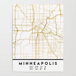 MINNEAPOLIS MINNESOTA CITY STREET MAP ART Poster