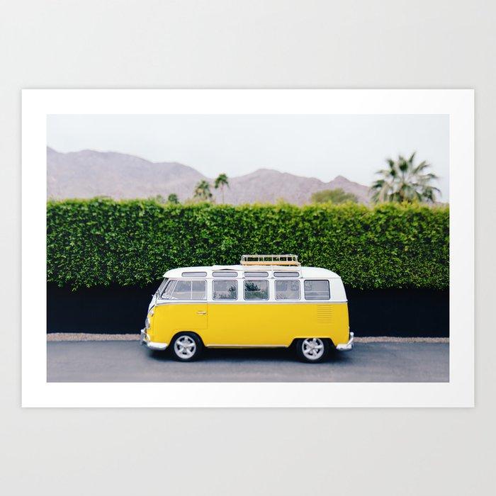Vintage Yellow Bus Art Print