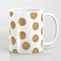 polkadot Mugs featuring GOLD POLKADOT 2 by wlydesign