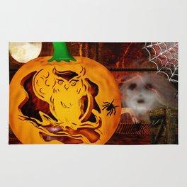 Sirens Pumpkin Carving Halloween Folk Art Rug
