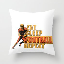 Eat Sleep Football Repeat Sunday Funday - Funny American Football Gift Throw Pillow