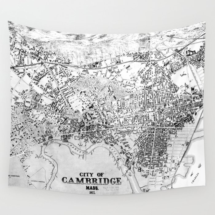 Vintage Map of Cambridge Machusetts (1877) BW Wall Tapestry by ... on