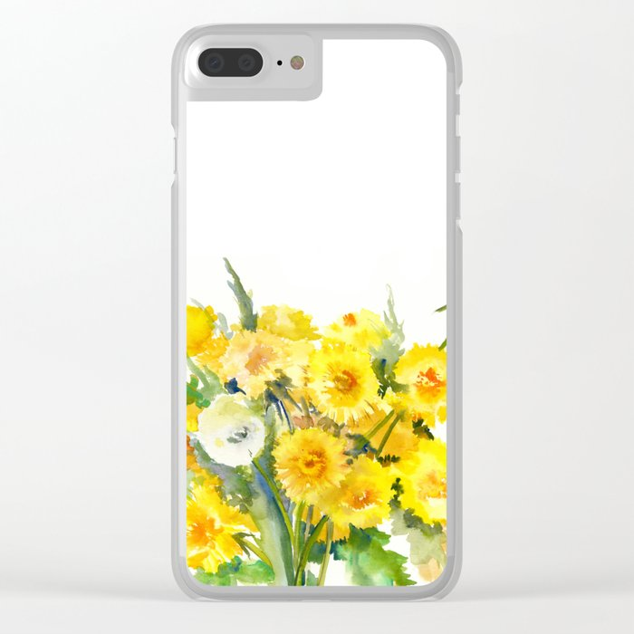 Dandelion Flowers, Herbal, herbs, field flowers, yellow floral design Clear  iPhone Case by sureart