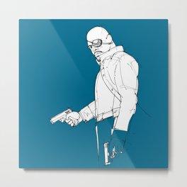 Nick blue background handmade drawing Metal Print