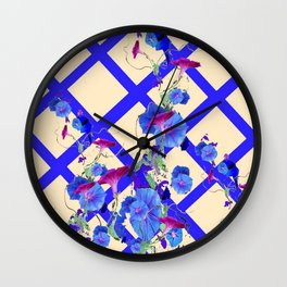 BLUE MORNING GLORIES & BLUE-CREAM LATTICE  DESIGN Wall Clock