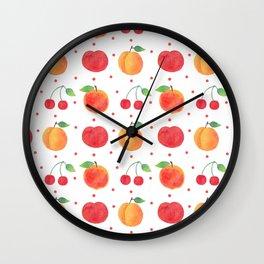 Summer orange red watercolor fruit polka dots pattern Wall Clock