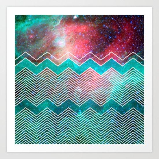 Chevron Galaxy Art Print