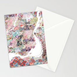 Montreal map canada Stationery Cards
