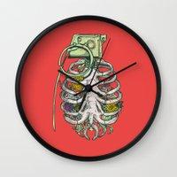 huebucket Wall Clocks featuring Grenade Garden by Huebucket