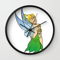tinker bell Wall Clocks featuring Tinker Bell by NOBODY's Art