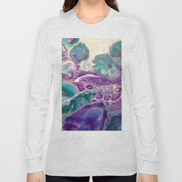 Lilies On A Purple Pond - Abstract Acrylic Art by Fluid Nature Long Sleeve T-shirt