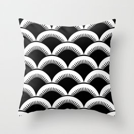 Japanese Fan Pattern Black and White Throw Pillow