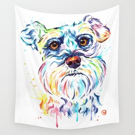 Schnauzer Watercolor Pet Portrait Painting Wall Tapestry