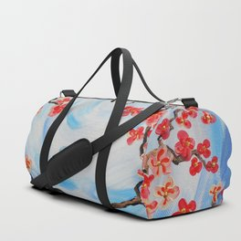 Blue sky Red cherry blossom tree bird painting by Ksavera Duffle Bag