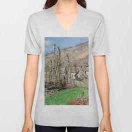 Claude Monet - Winter Landscape at the Val de Falaise (Giverny).jpg Unisex V-Neck
