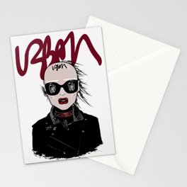 URBAN Shaved Head Girl Portrait with Black Perfecto Stationery Cards