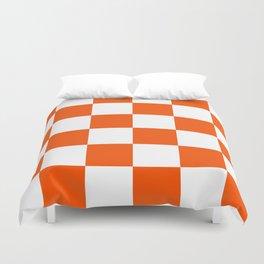 Large Checkered - White and Dark Orange Duvet Cover