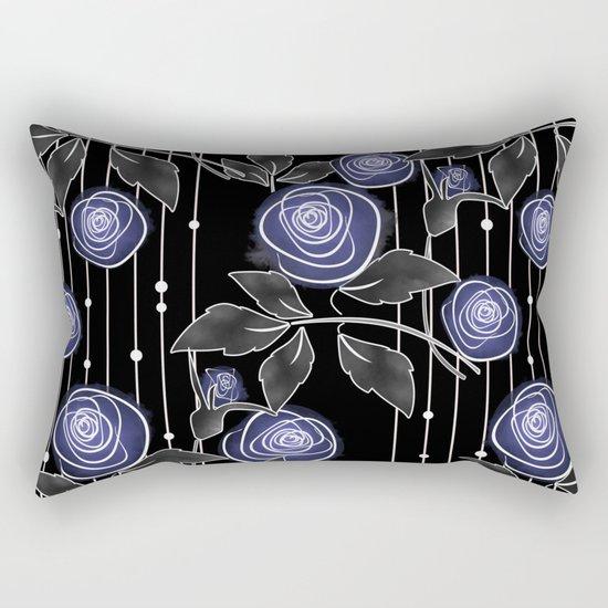 Blue roses on black background Rectangular Pillow