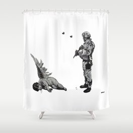 Banksy Soldier With Fallen Angel Artwork Reproduction for Prints Posters Tshirts Men Women Kids Shower Curtain