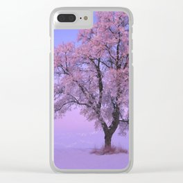 Pink Snow Tree Clear iPhone Case